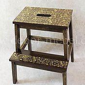 Для дома и интерьера handmade. Livemaster - original item Stepladder stool brown ornament. Handmade.