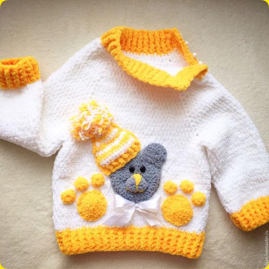 """Одежда для девочек, ручной работы. Ярмарка Мастеров - ручная работа. Купить Свитер """"Плюшевый Мишка"""". Handmade. Белый, свитер для девочки"""