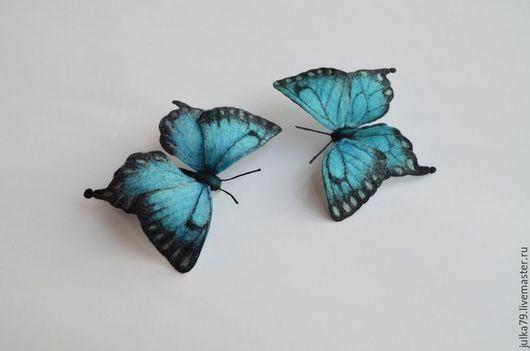 Броши ручной работы. Ярмарка Мастеров - ручная работа. Купить Бабочки 2. Handmade. Тёмно-бирюзовый, войлок, юлия валовая