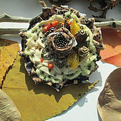 """Украшения ручной работы. Ярмарка Мастеров - ручная работа Мини-брошь """"Поздняя осень"""" с кораллом и яшмой. Handmade."""
