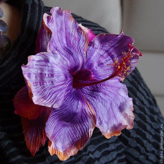 """Броши ручной работы. Ярмарка Мастеров - ручная работа. Купить Брошь """"Гибискус"""" шелк. Handmade. Фиолетовый, цветы ручной работы"""