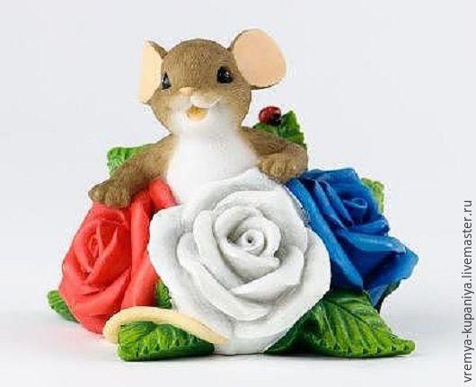 """Материалы для косметики ручной работы. Ярмарка Мастеров - ручная работа. Купить 3D Силиконовая форма для мыла  """"Мышонок в розах"""". Handmade."""