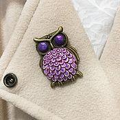 Украшения handmade. Livemaster - original item Brooch owl purple lilac brooch bird made of polymer clay. Handmade.