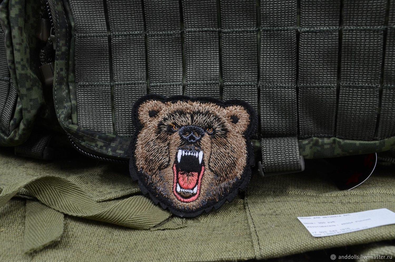 Патч, Морда медведя вышитый шеврон с липучкой, Украшения, Москва,  Фото №1