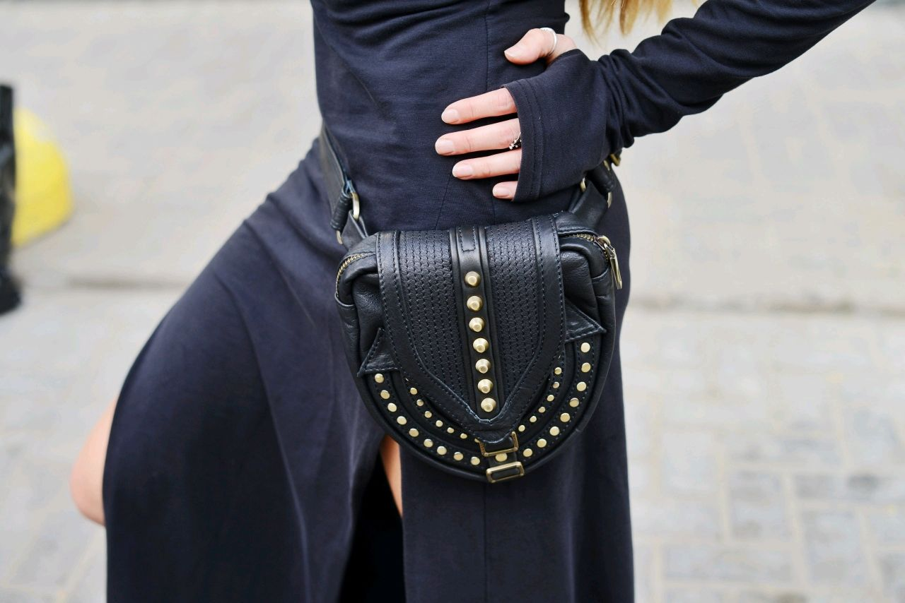 Waist leather black Goan bag, Waist Bag, St. Petersburg,  Фото №1
