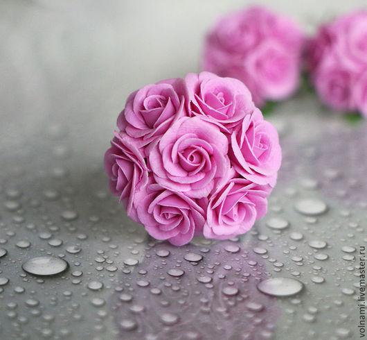 """Кольца ручной работы. Ярмарка Мастеров - ручная работа. Купить Кольцо """"Нежность"""". Handmade. Белый жемчуг, цветы, розовый цвет"""