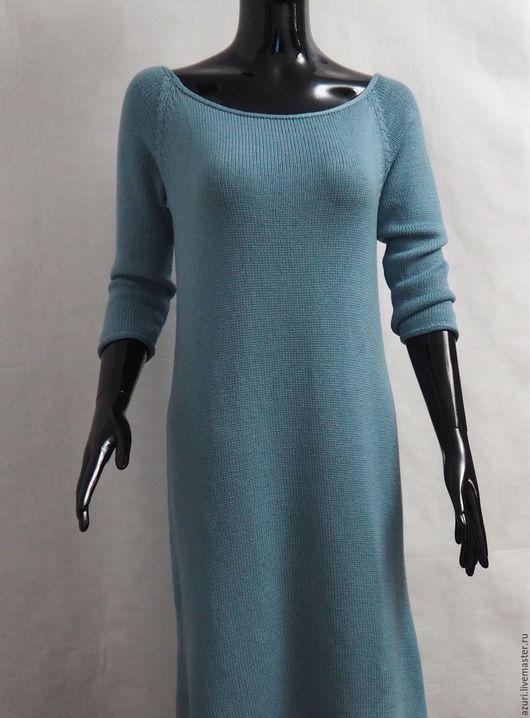 платье вязаное, платье, платье голубое, платье длинное, вязаное платье, вязаная одежда, любимый трикотаж, платье из мериноса, платишко, весна, весна 2016
