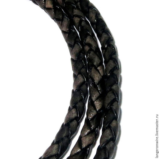 Для украшений ручной работы. Ярмарка Мастеров - ручная работа. Купить Шнур кожаный плетеный 3,5 мм. Цвет - серый перламутровый. Handmade.