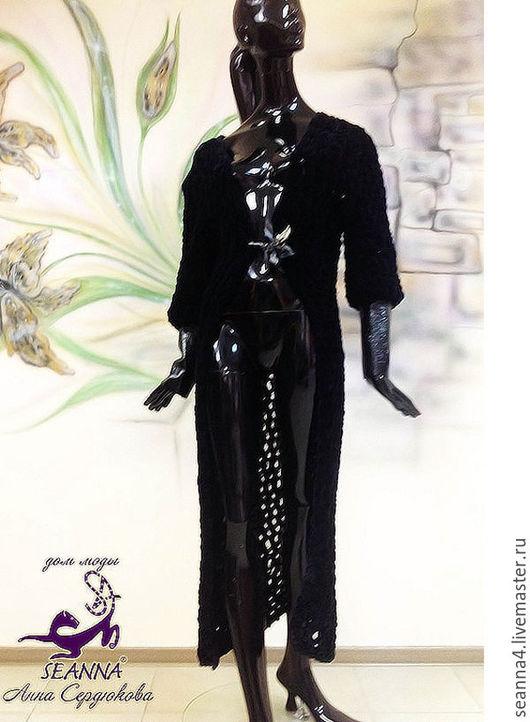 """Верхняя одежда ручной работы. Ярмарка Мастеров - ручная работа. Купить Пальто """"Бархатные сети"""" ручной вязки бархатное с кожей в любом размере. Handmade."""