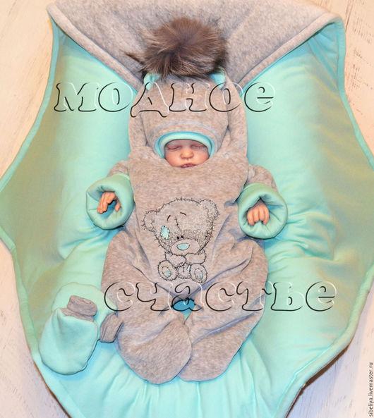 """Для новорожденных, ручной работы. Ярмарка Мастеров - ручная работа. Купить Комплект на выписку """"Мишка"""" серо-ментоловый с серым помпоном. Handmade."""