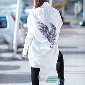Одежда handmade. Livemaster - original item Fashionable, asymmetrical shirt with print on the back - SH0447CT. Handmade.