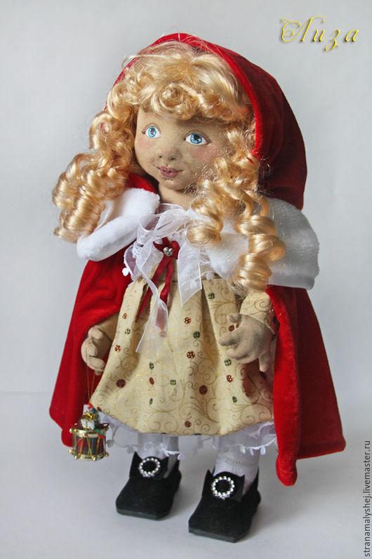 Коллекционная кукла, Ярмарка мастеров авторская кукла, Страна малышей, кукла новогодняя, рождественская кукла, кукла в золотом платье с красной накидкой, handmade