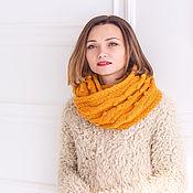 """Аксессуары ручной работы. Ярмарка Мастеров - ручная работа """"Пряная горчица"""", Желтый горчичный вязаный женский шарф снуд. Handmade."""