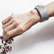 Украшения handmade. Livemaster - original item Leather bracelet with embossed Silver. Handmade.