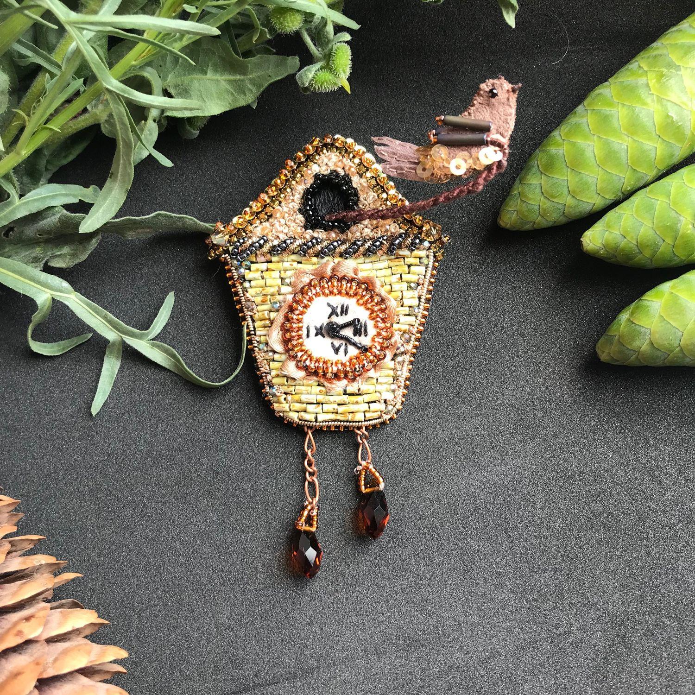 Сказочные часы с кукушкой, Брошь-булавка, Раменское,  Фото №1