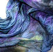 Аксессуары ручной работы. Ярмарка Мастеров - ручная работа большой шарф шёлковый сине фиолетово салатовый шёлк эксельсиор. Handmade.