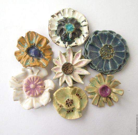 """Броши ручной работы. Ярмарка Мастеров - ручная работа. Купить Броши """"Морские цветы"""", керамика. Handmade. Керамические броши, актинии"""