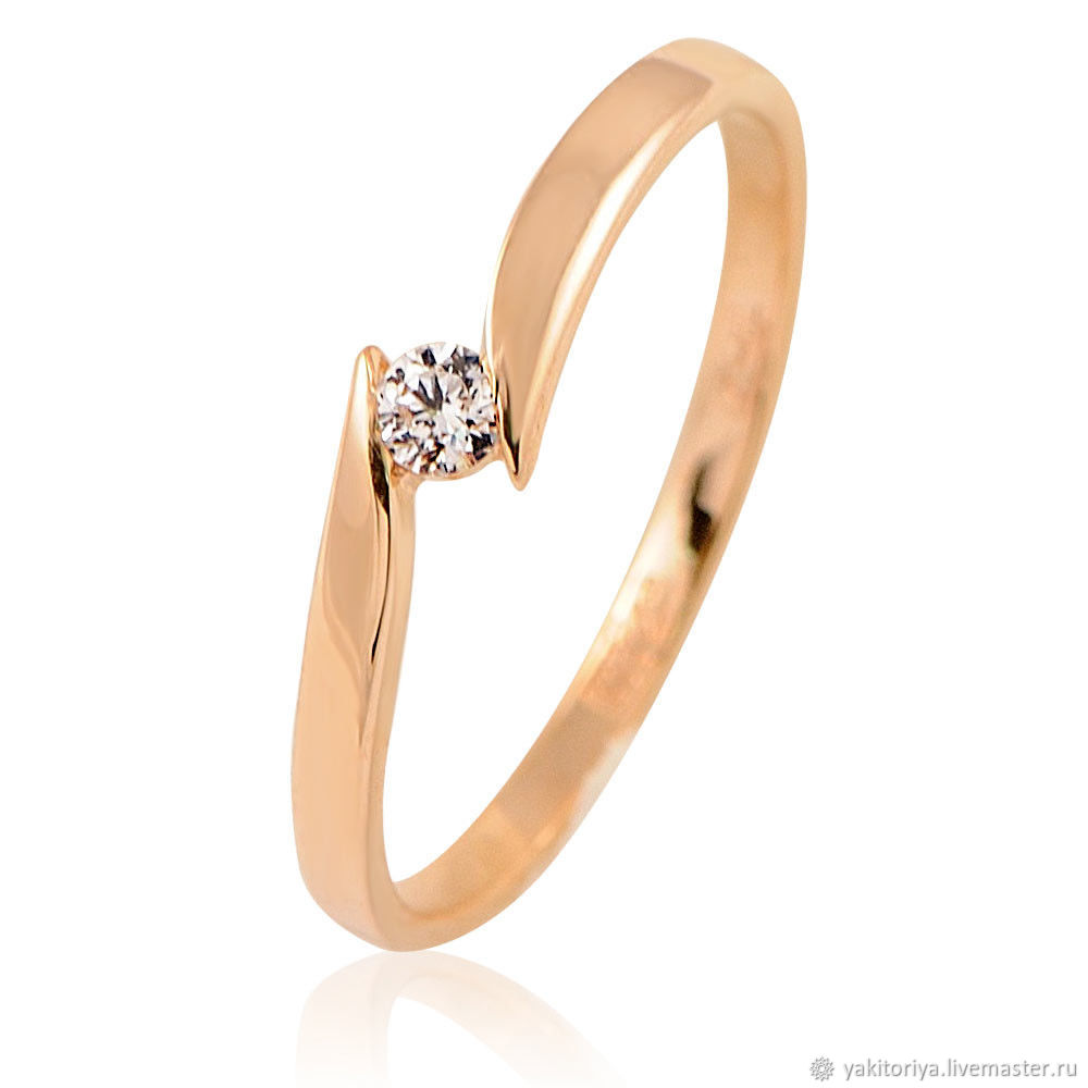 585 gold ring with natural diamond, Rings, Moscow,  Фото №1