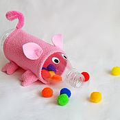 """Куклы и игрушки ручной работы. Ярмарка Мастеров - ручная работа Игра с помпонами """"Накорми хрюшку"""". Handmade."""