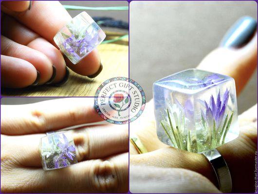 Кольца ручной работы. Ярмарка Мастеров - ручная работа. Купить 3D-кольцо с настоящими горными растениями. Handmade. Сиреневый
