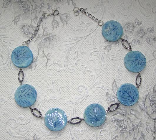 """Колье, бусы ручной работы. Ярмарка Мастеров - ручная работа. Купить Бусы """"Голубая Фантазия"""" из полимерной глины. Handmade. Голубой"""