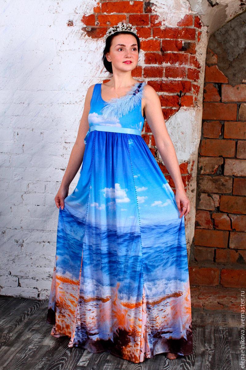Платья ручной работы. Ярмарка Мастеров - ручная работа. Купить Платье Море. Handmade. Море, мода, ручнаяработа