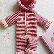 Работы для детей, handmade. Livemaster - original item Knitted Romper, Marshmallow, 0-3 month. Handmade.