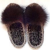 Обувь ручной работы. Ярмарка Мастеров - ручная работа Тапочки-шлепки, коричневый, полушерсть. Handmade.