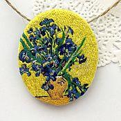 Украшения handmade. Livemaster - original item Brooch-pendant painting In van Gogh`s still life Vase with irises on a yellow. Handmade.