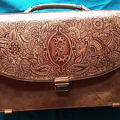 """Сумки и аксессуары handmade. Livemaster - original item Leather briefcase """"MEHNDI"""". Handmade."""