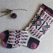 Одежда ручной работы. Ярмарка Мастеров - ручная работа носки шерстяные №1. Handmade.