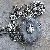 Украшения handmade. Livemaster - original item Double-sided cross with beetles, silver and brass. Handmade.