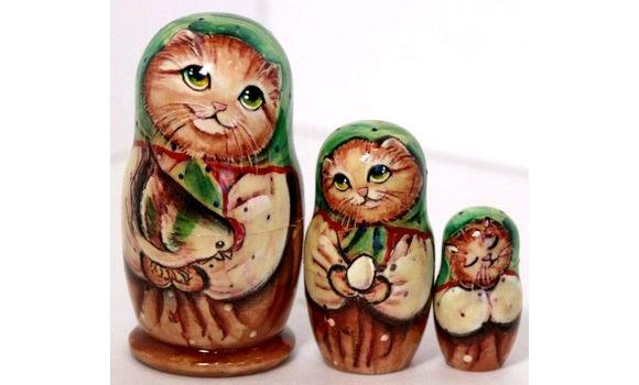 Матрешка Кот зелёный 11см 3 м, Матрешки, Шатура,  Фото №1