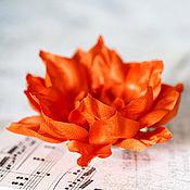 Украшения ручной работы. Ярмарка Мастеров - ручная работа 71411_Ярко оранжевая заколка для волос, Оранжевая брошь цветок, Цветок. Handmade.