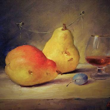 Картины и панно ручной работы. Ярмарка Мастеров - ручная работа Картины: Натюрморт маслом Груши слива и вино. Handmade.