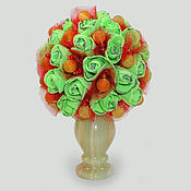 """Цветы и флористика ручной работы. Ярмарка Мастеров - ручная работа Цветы из агата """"Пламя любви"""" в вазочке из оникса. Handmade."""