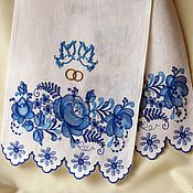 Свадебный салон ручной работы. Ярмарка Мастеров - ручная работа Свадебный рушник с вышивкой в стиле Гжель Модель 1015. Handmade.