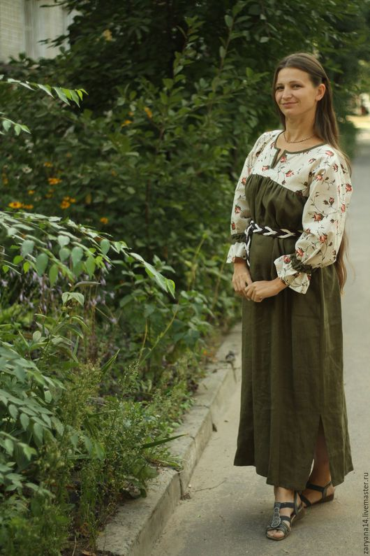 """Платья ручной работы. Ярмарка Мастеров - ручная работа. Купить Платье """"Розочки  и зеленый"""". Handmade. Комбинированный, одежда для беременных"""