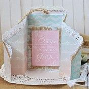 """Свадебный салон ручной работы. Ярмарка Мастеров - ручная работа Свадебная открытка """"Кружево"""" розовый голубой кружево. Handmade."""