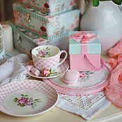 """Утварь ручной работы. Ярмарка Мастеров - ручная работа Чайная пара """"Розовая клетка"""". Handmade."""
