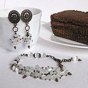 Украшения handmade. Livemaster - original item Cream truffle set, white cat`s eye / copper. Handmade.