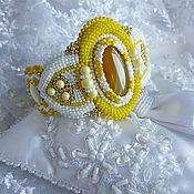 """Украшения ручной работы. Ярмарка Мастеров - ручная работа Вышитый браслет  """"Yellow stone"""" с агатом. Handmade."""