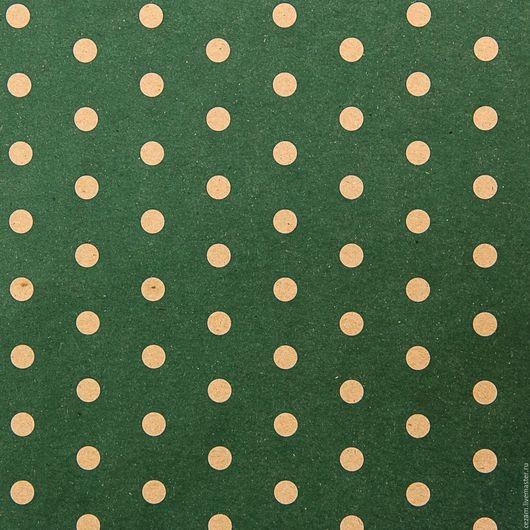 Упаковка ручной работы. Ярмарка Мастеров - ручная работа. Купить ВР. НЕТ! Бумага крафт зеленая в горошек. Handmade. Крафт