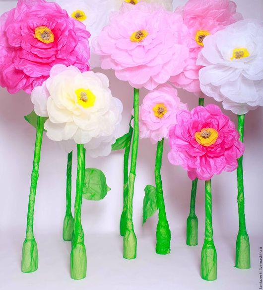 Цветы ручной работы. Ярмарка Мастеров - ручная работа. Купить Большие цветы на стойке. Handmade. Комбинированный, цветы для декора