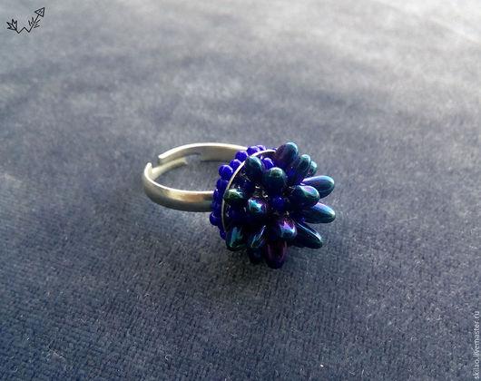 Кольца ручной работы. Ярмарка Мастеров - ручная работа. Купить Кольцо из бисера Синий феррофлюид. Handmade. Тёмно-синий