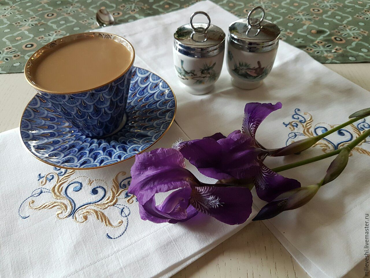 Napkins with embroidery Wedding iris, Swipe, Ivanovo,  Фото №1