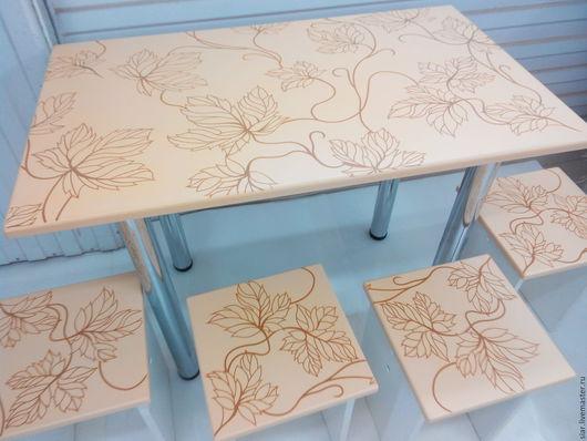 Мебель ручной работы. Ярмарка Мастеров - ручная работа. Купить Стол и 4 табурета. Handmade. Комбинированный, кухонный комплект