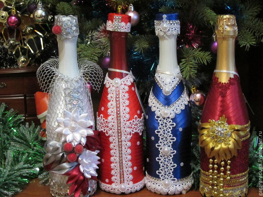 Украшение бутылок шампанского к новому году своими руками