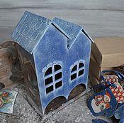 """Для дома и интерьера ручной работы. Ярмарка Мастеров - ручная работа Чайный домик двойной """"Синий иней"""". Handmade."""