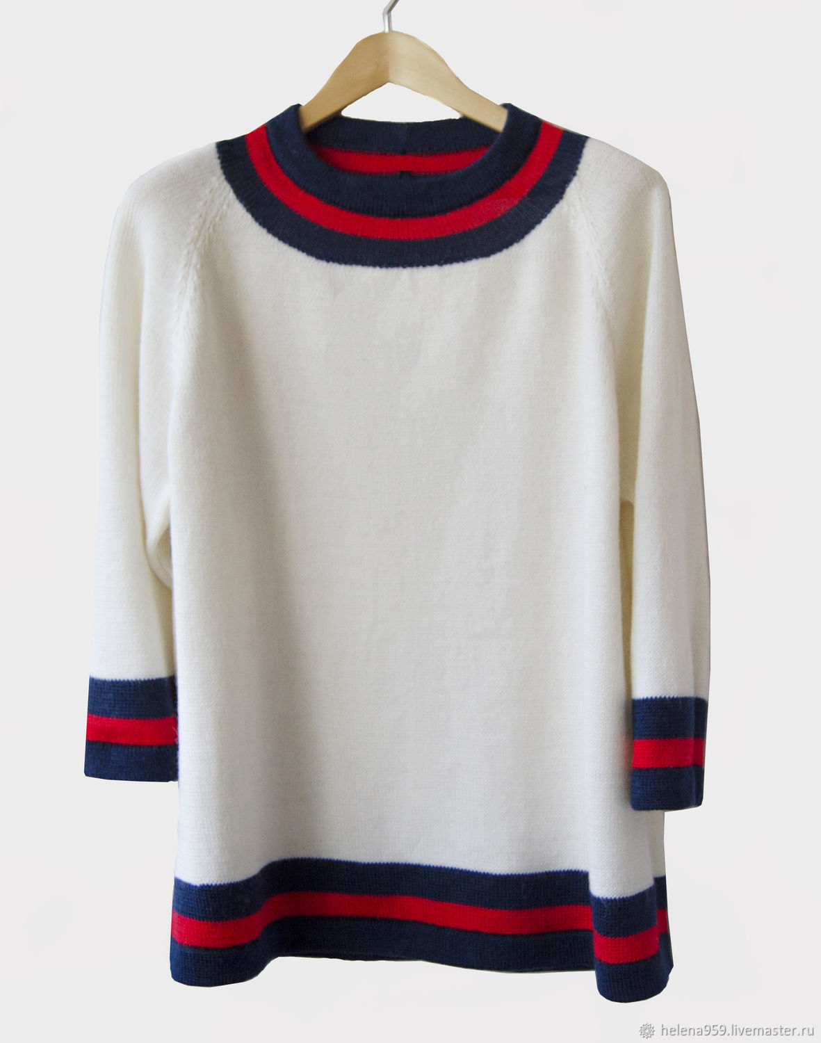 Sweater with round colored neck of blue and red stripes, Sweaters, Ulyanovsk,  Фото №1